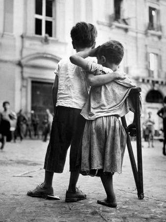 Little Boy Helps One-Legged Companion across Street, August 1944, During World War 2 Photo at AllPosters.com