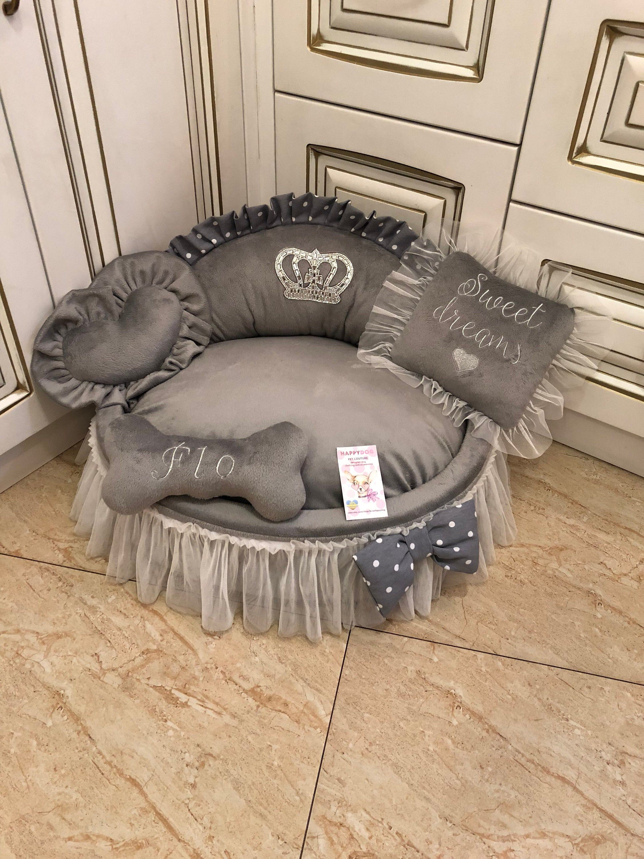 Gray princess bed with crown sparkles Puppy bed for