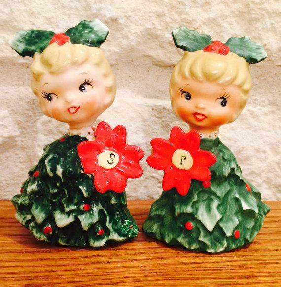 Holt Howard Christmas Poinsettia Girls Salt and by BobsGoodJunk