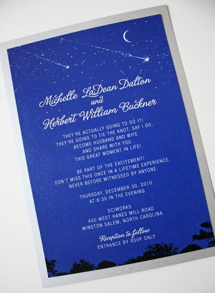 An invitation for your night time themed wedding | Night-time Themed ...