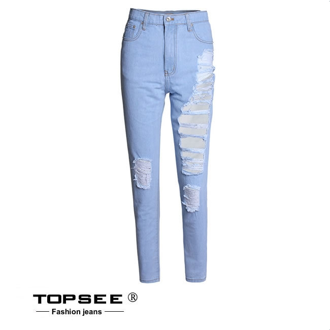 28.50$  Watch now - http://alimu0.shopchina.info/go.php?t=32646965988 - Hot Sell Women Jeans Ripped Hole Denim Pants Casual Loose Straight Capris c3538  #SHOPPING
