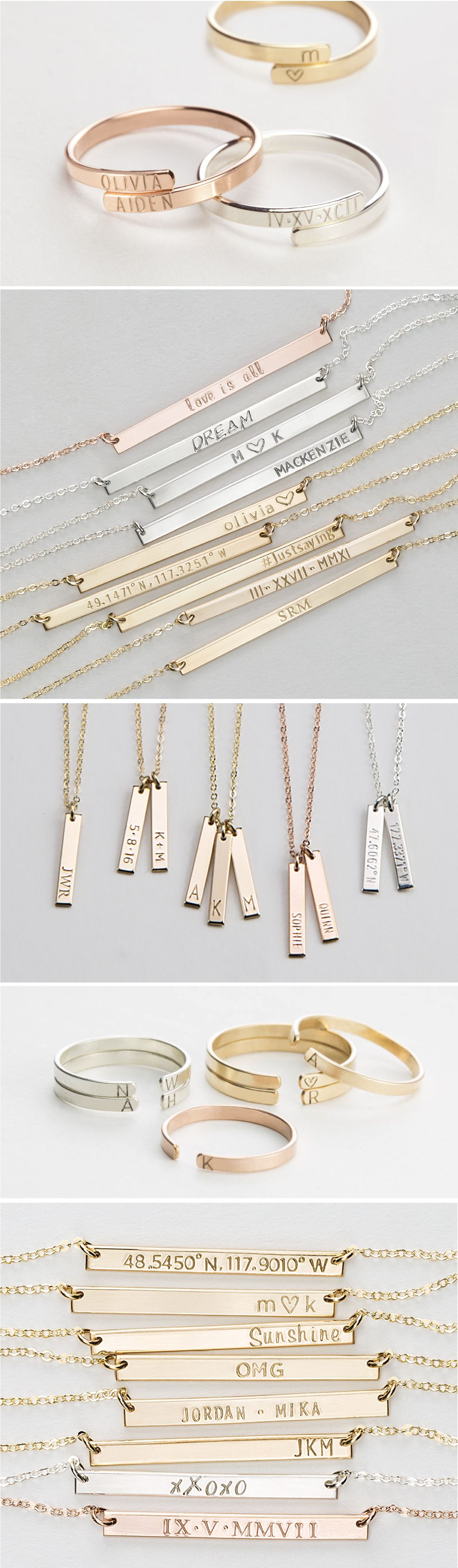 Personalized jewelry gifts special meaningful necklaces rings