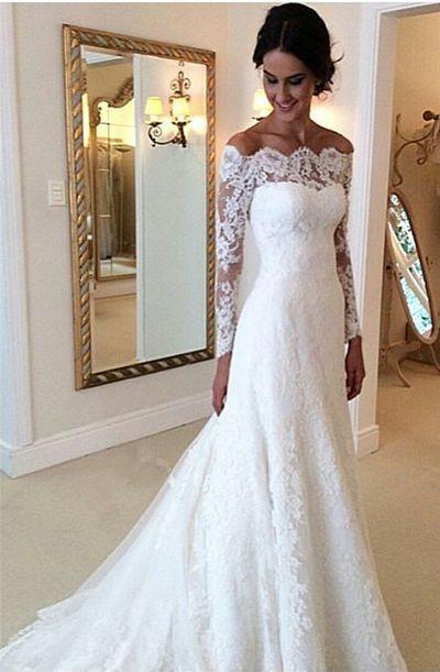 Schulterfreies, appliziertes, langes Brautkleid, handgefertigtes Brautkleid auf Bestellung von superbnoivadress