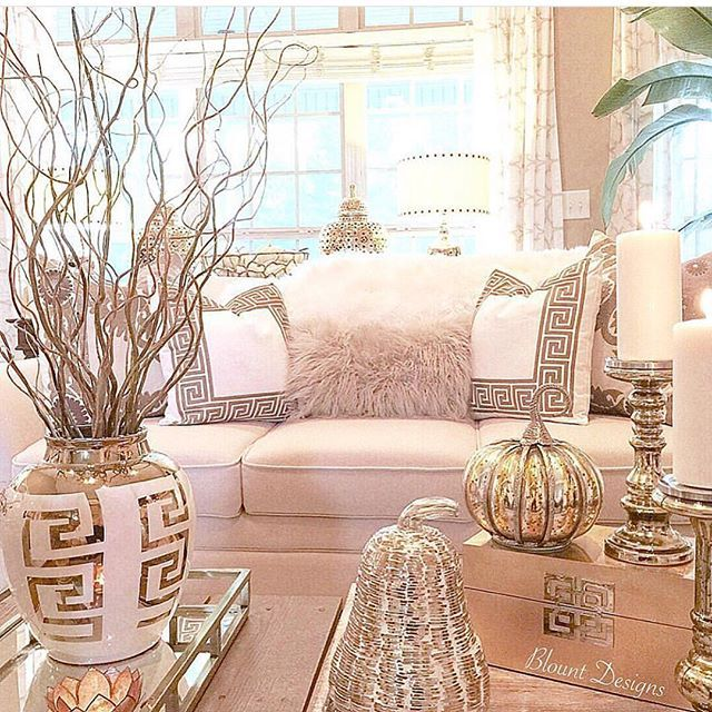 Instagram post by interior design home decor inspire me home decor glam living room room Gold accessories for living room