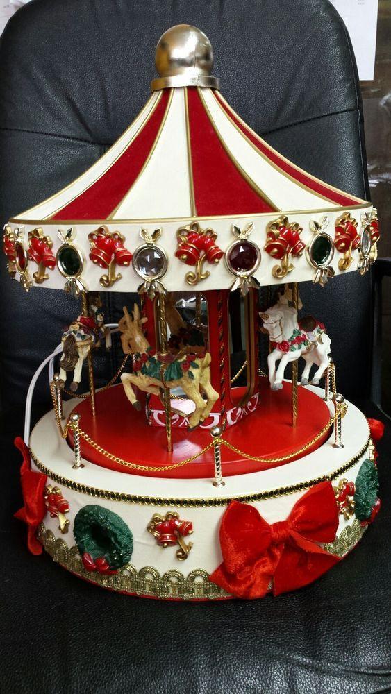 VINTAGE Christmas Large Musical HorseLionDeer Carousel