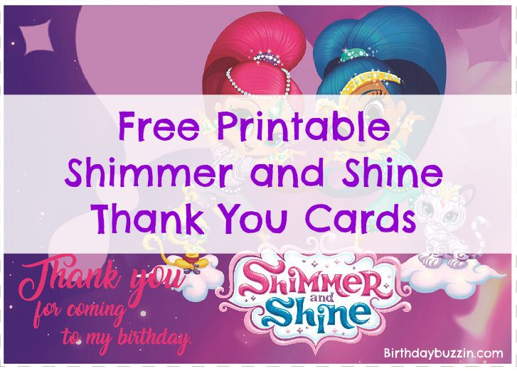 Free Printable Shimmer And Shine Thank You Cards Shimmer