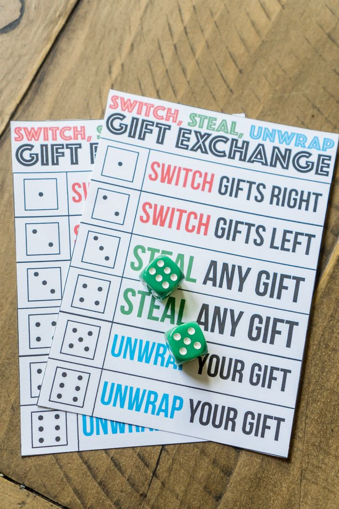 A Christmas Gift Exchange Game That Uses Dice And Gifts Christmas