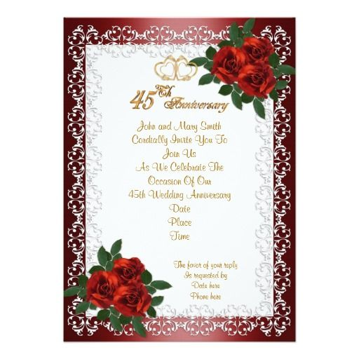45th Anniversary Party Invitation Red Roses