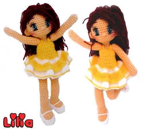 Patron gratis de lilia, muñeca amigurumi y sus vestidos | Amigurumis ...