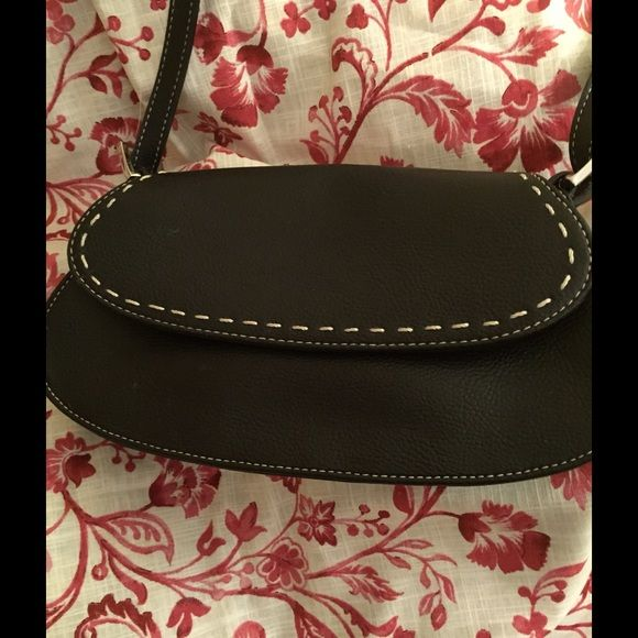 Cute black handbag! Black, texture leather with white stitching. Liz Claiborne Bags