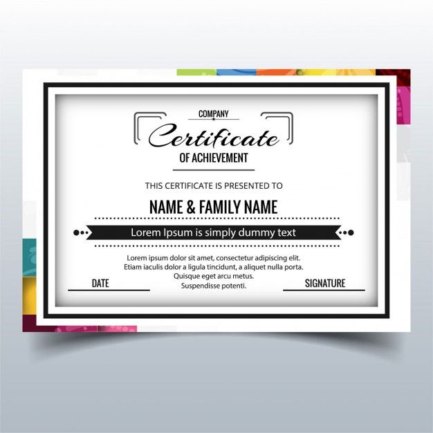 Certificate with a frame decorated with colorful shapes Free Vector - new certificate vector free
