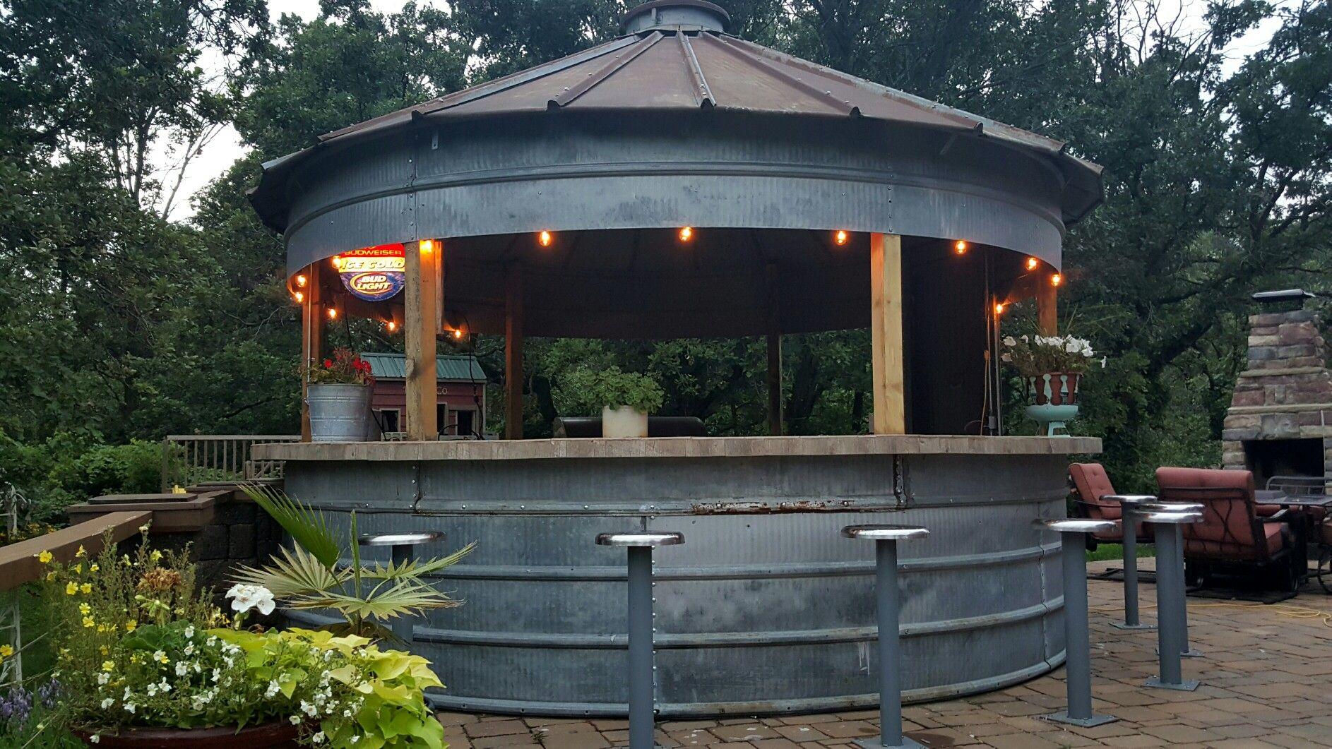 Grain bin bar outdoor kitchen a ranch pinterest house backyard and kitchen for How to build a grain bin swimming pool
