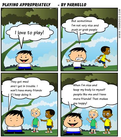 Playing Appropriately Social Skills Cartoon Social Skills Autism Social Emotional Skills Social Skills Groups