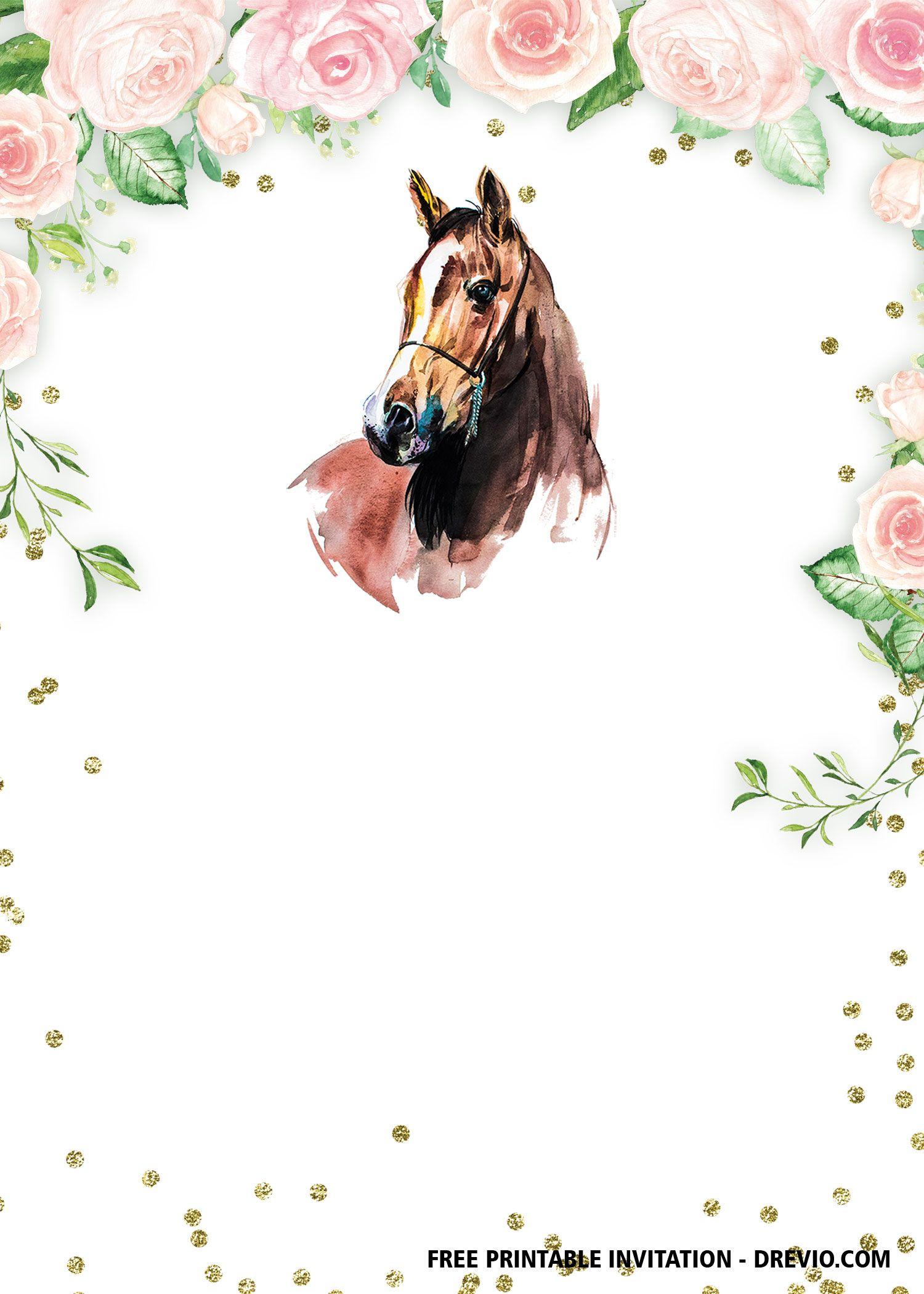 FREE Printable Horse Floral Vintage Invitation Templates  DREVIO