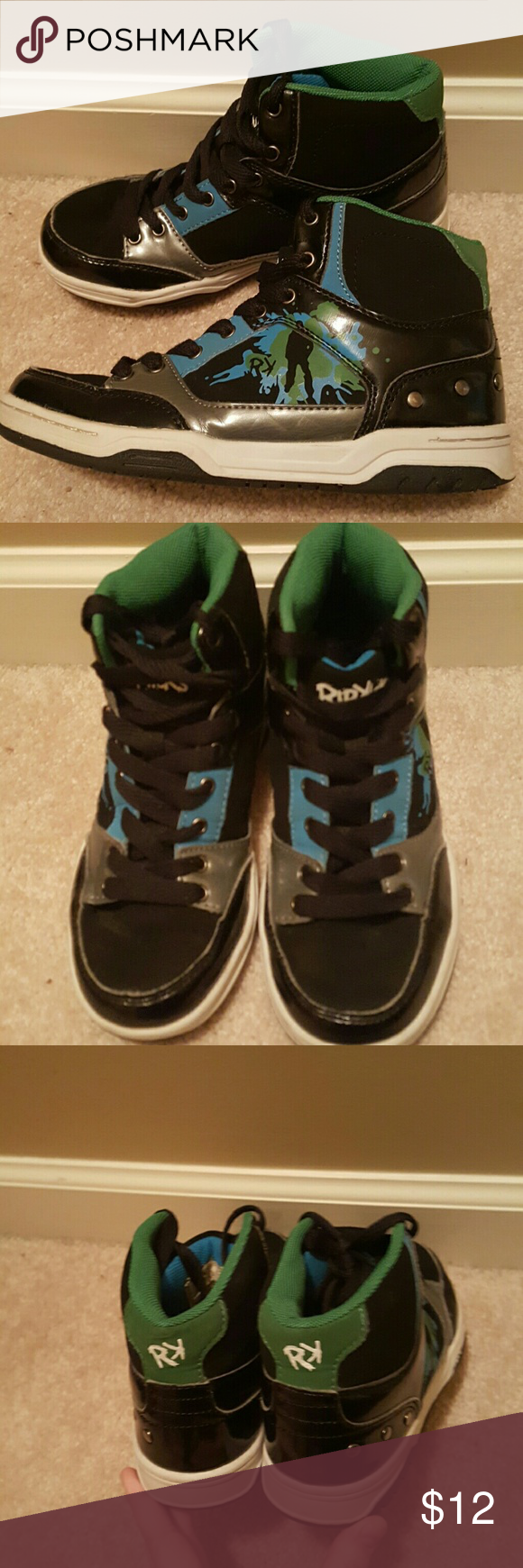 Rip Kick Brand Black & Paint Splatter Sneakers Size 2 Big boy's Rip Kick Brand Sneakers. Black, Gray, Blue, and Green. Material has suede like feel and Shiny Patent Leather like look. Purchased brand new for my son, who has outgrown them. Only a few small scuffs around toes as pictured in Picture 6. Could probably be covered with shoe polish or permanent marker. Very little wear on soles. Insoles and laces in tact. Just now truly broken in. Would make great pair of extra shoes for basketball…