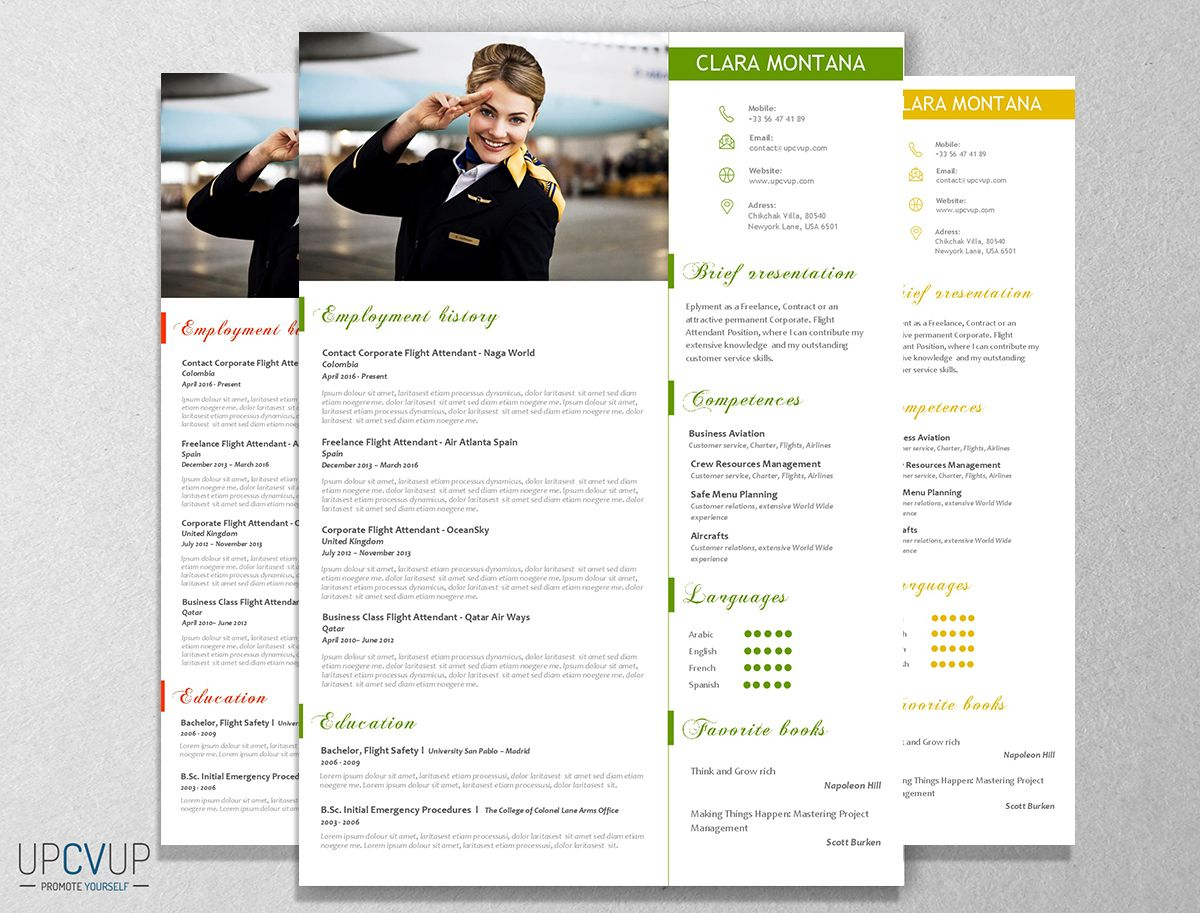 Cabin Crew  Flight Attendant Modern Resume Cv Template  Cover