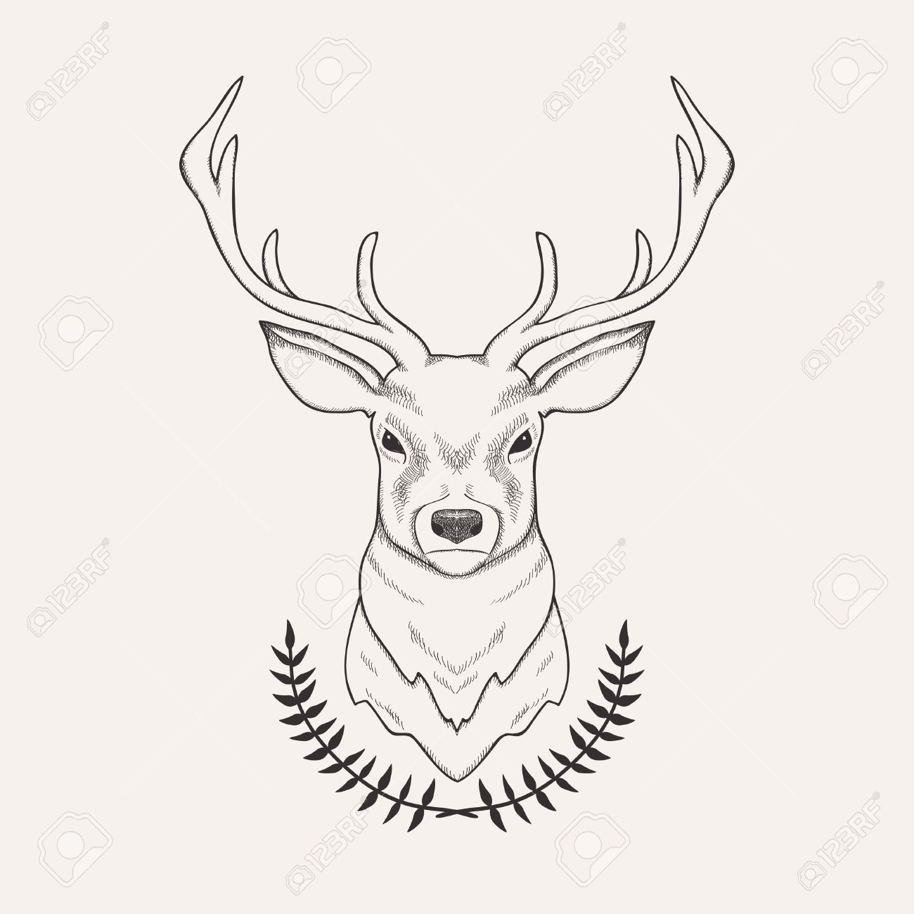 Vector hand drawn illustration of deer and laurel royalty free