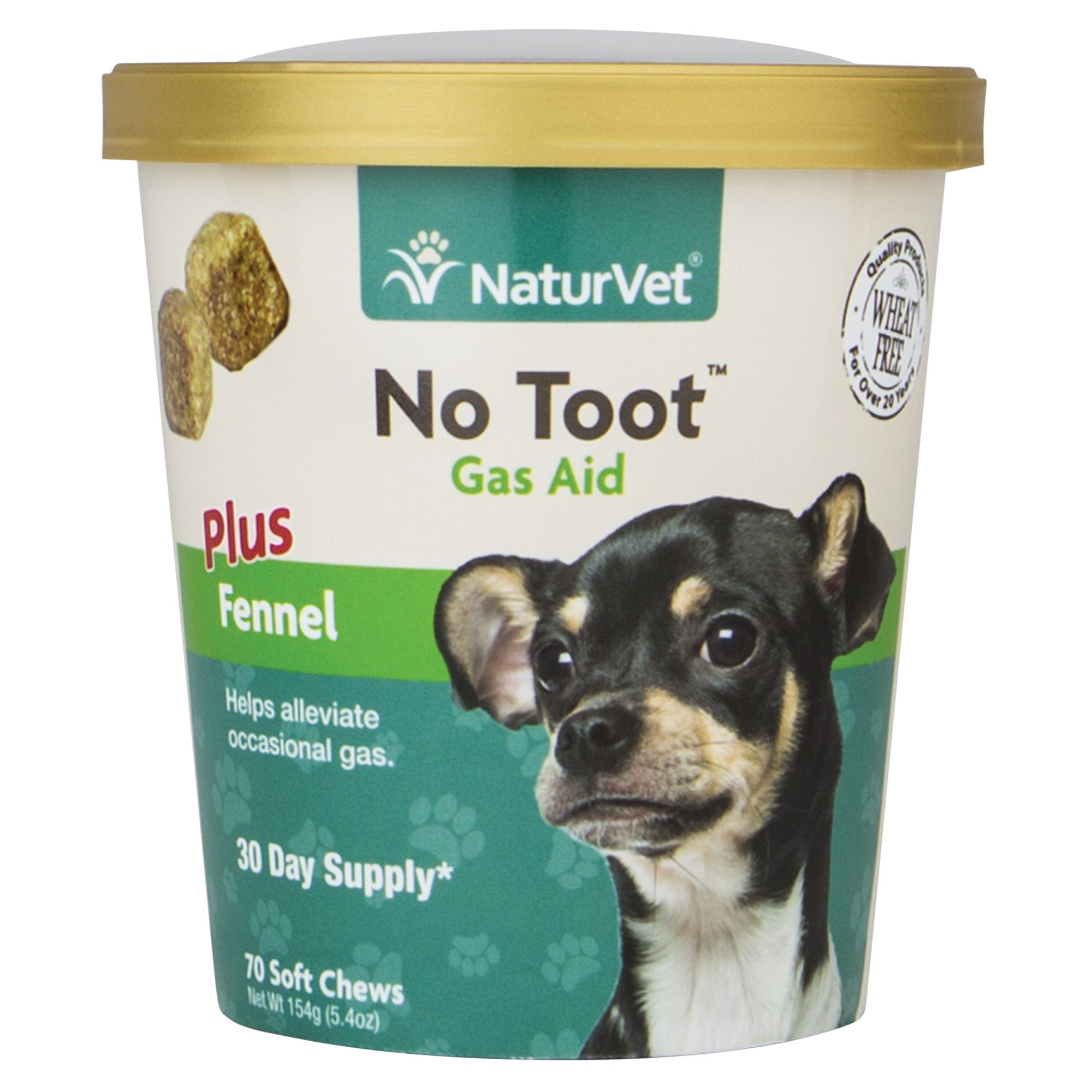 NaturVet No Toot Gas Aid Dog Soft Chews, Pack of 70 chews
