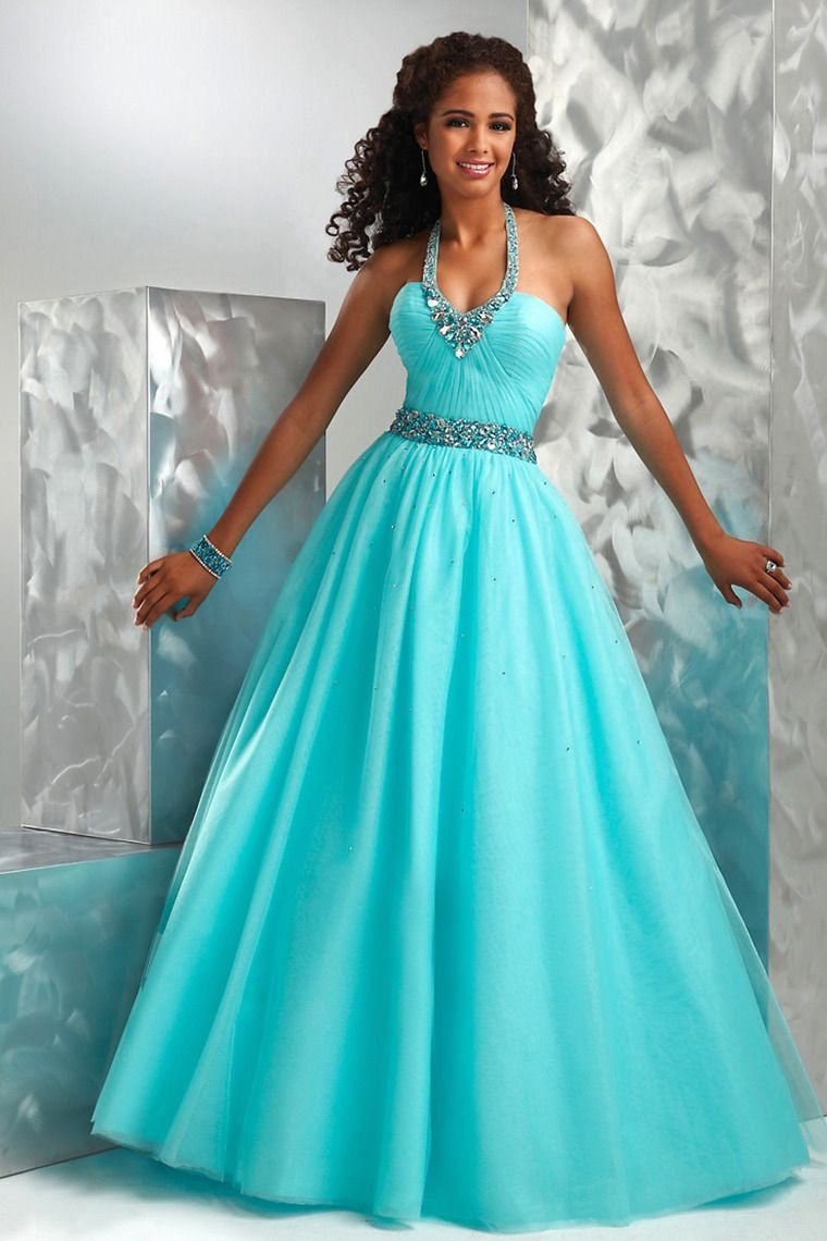 Hot selling prom dresses a line halter floor length lace up
