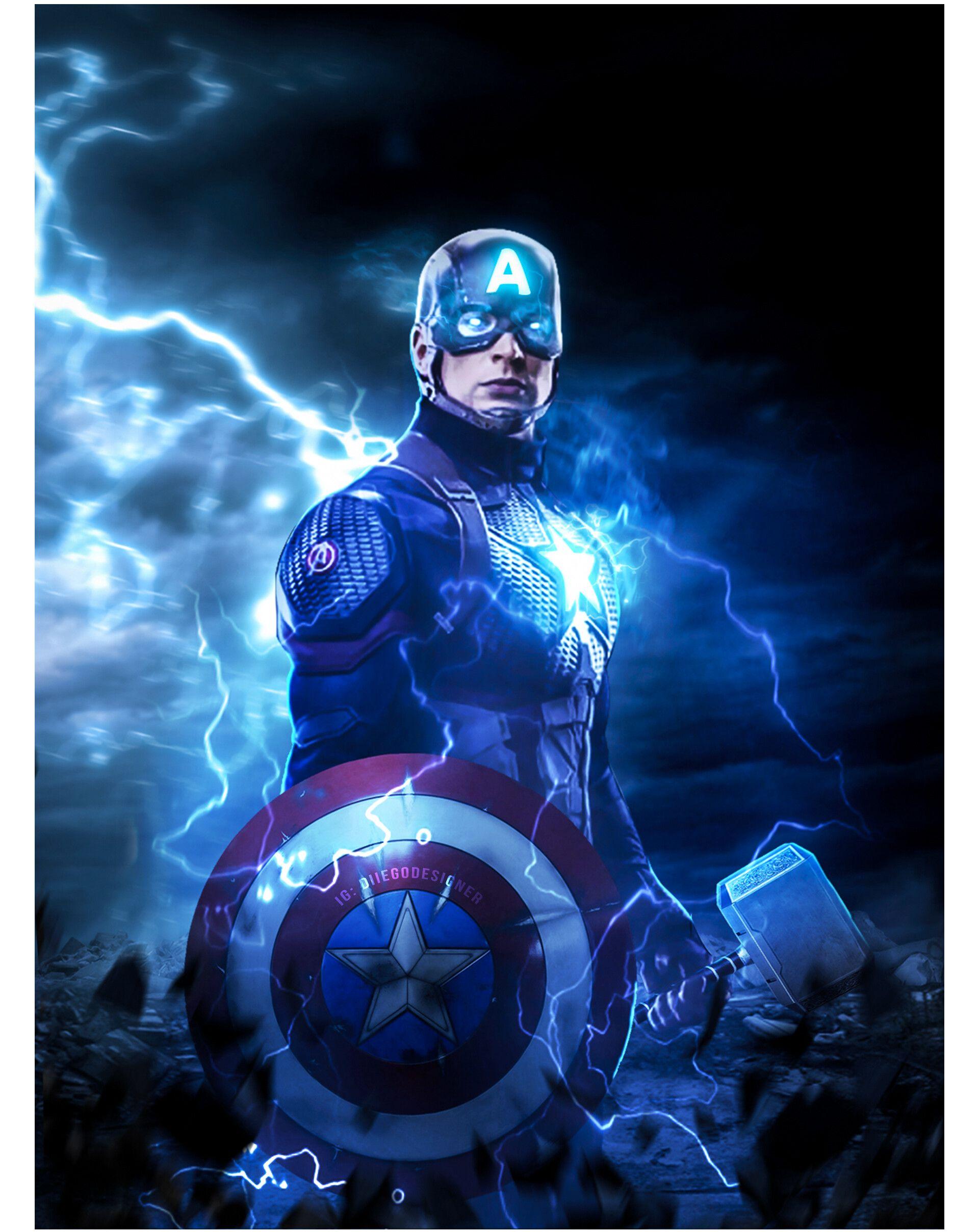End Game Captain America Mjolnir Captain America Wallpaper Marvel Comics Wallpaper Thor Wallpaper