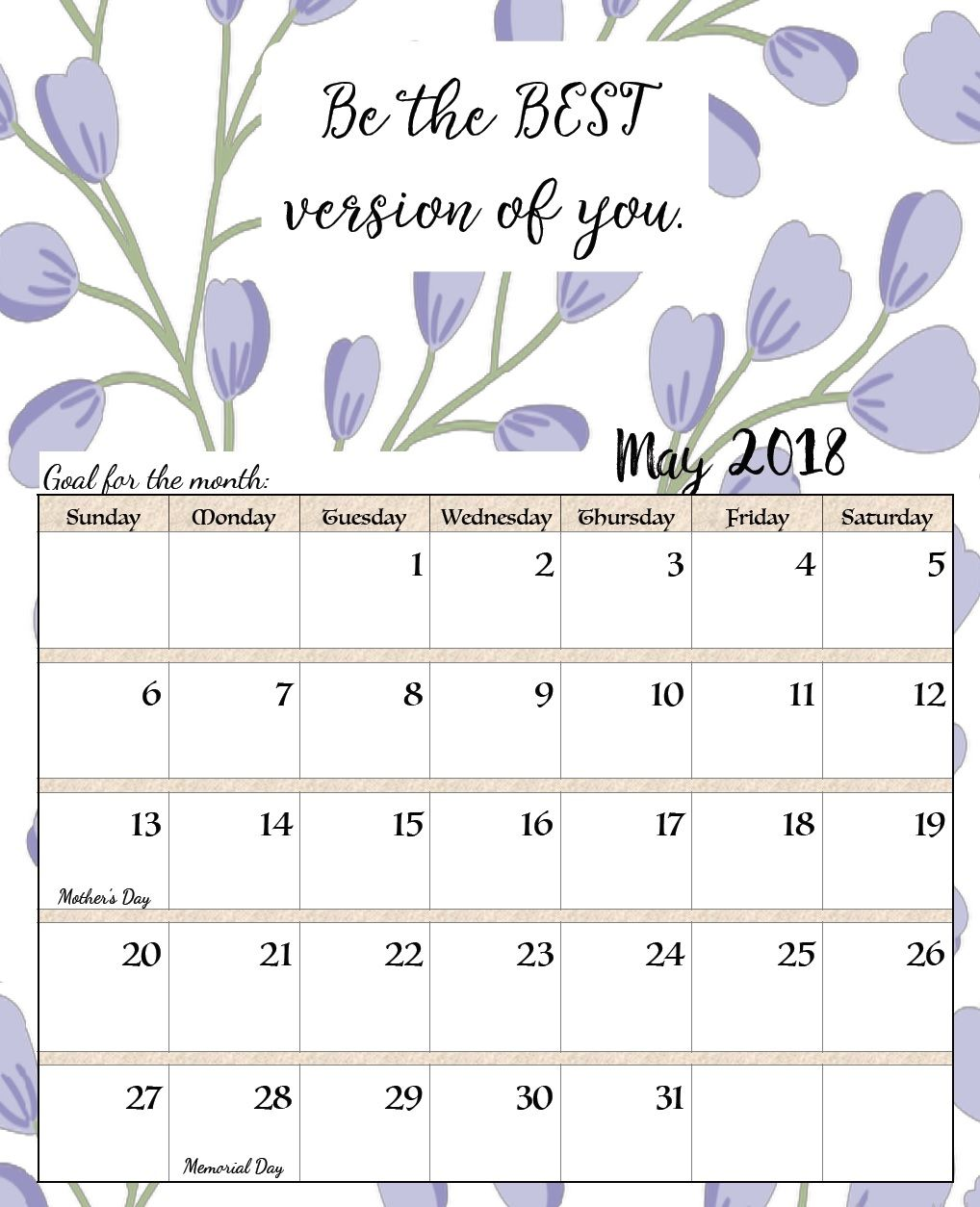 may calendar template 2018