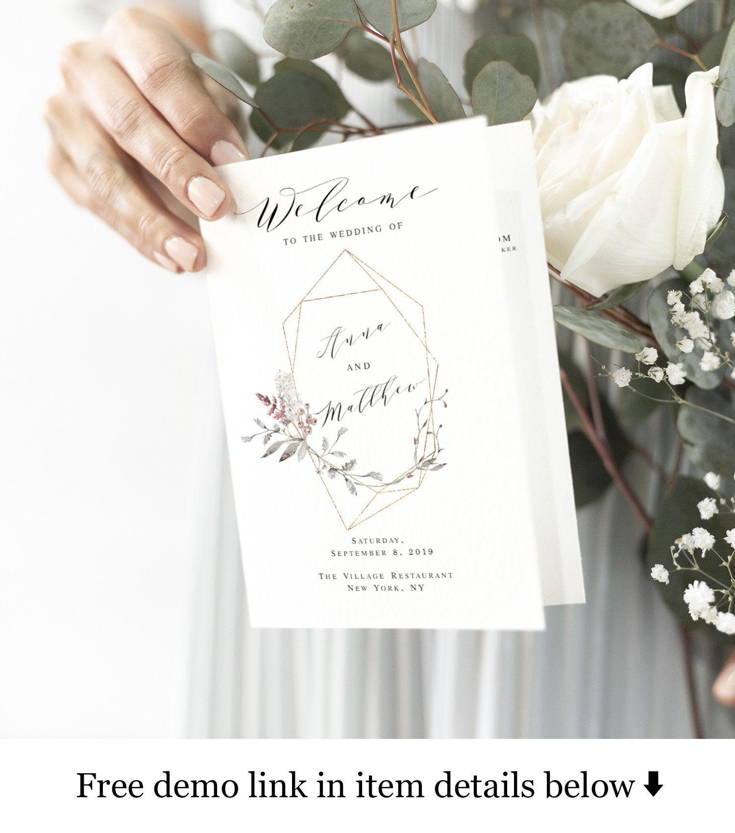 Purple Floral Wedding program template Folded booklet