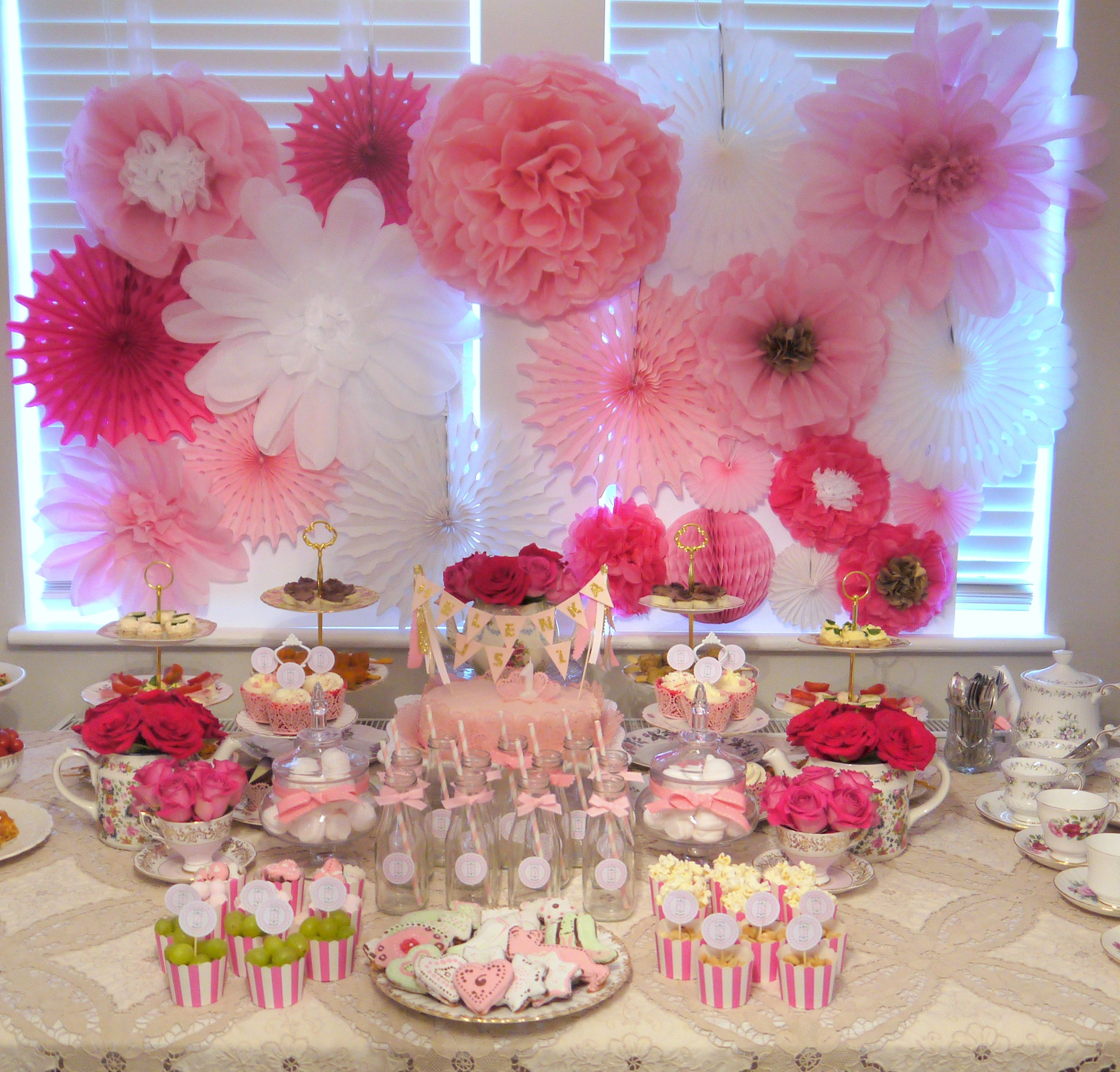 Pink 1st Birthday Party with Paper Flower Backdrop | 1st ...