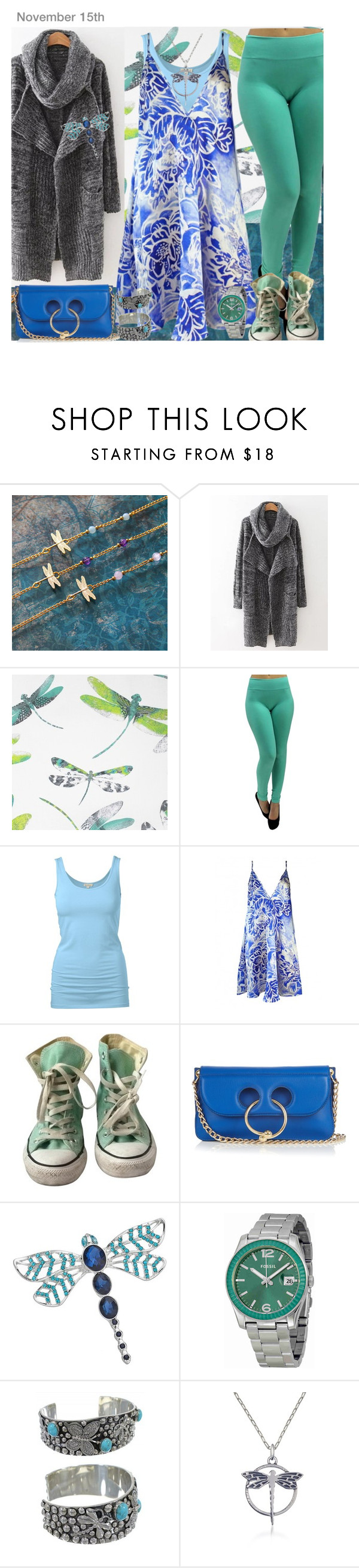 """""""OOTD"""" by yesitsme123 ❤ liked on Polyvore featuring MARA, Osborne & Little, Plakinger, Converse, J.W. Anderson, Dana Buchman and FOSSIL"""