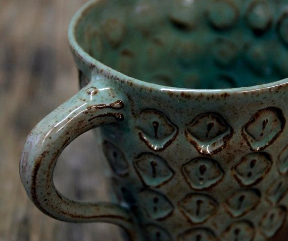 Moroccan Inspired Ceramic Teal Stoneware Cup by NorthStarPottery, $28.00