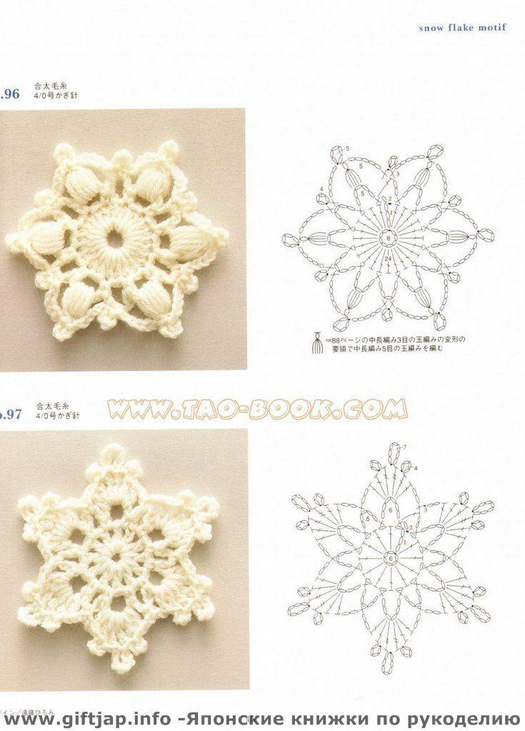 Patrón copos de nieve de ganchillo - Crochet Snow Flakes Pattern ...