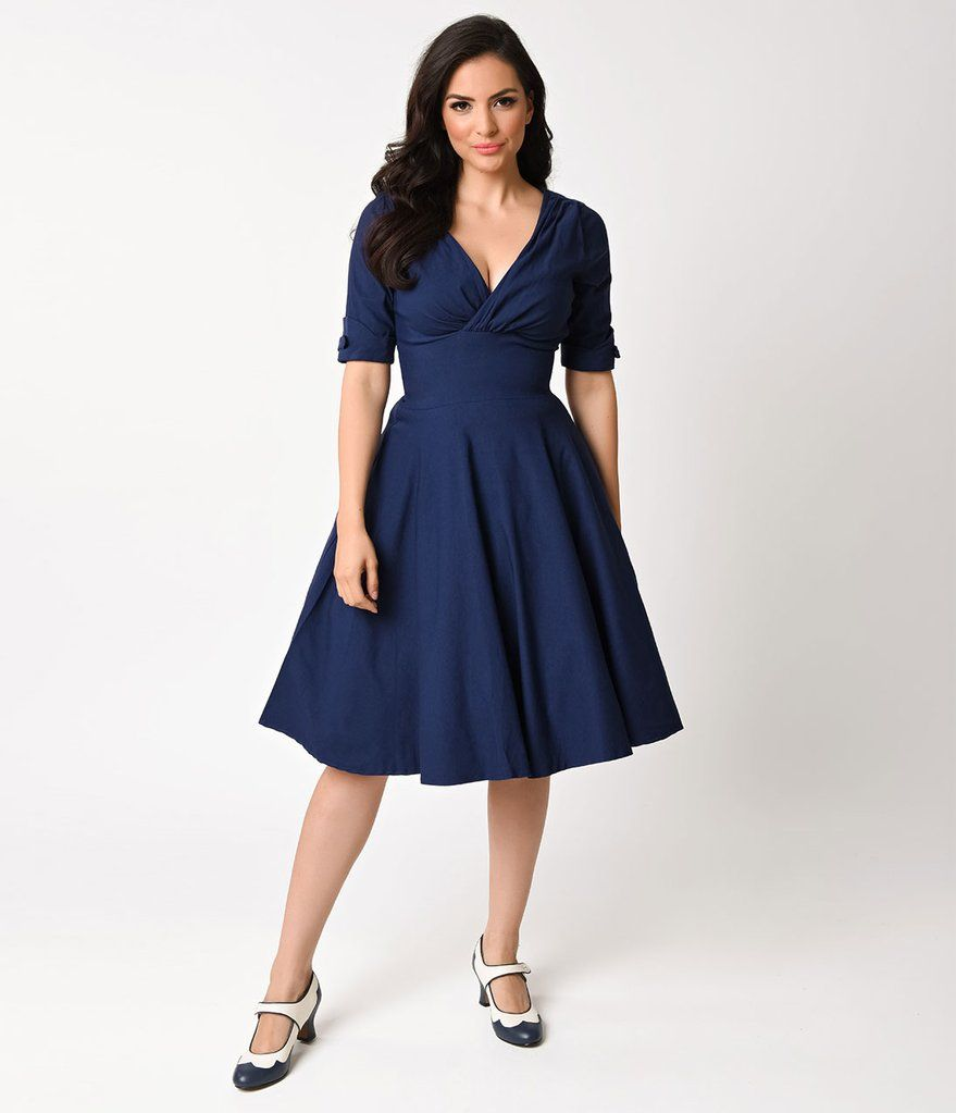 Plus size pin up style wedding dress  Unique Vintage s Navy Blue Delores Swing Dress with Sleeves