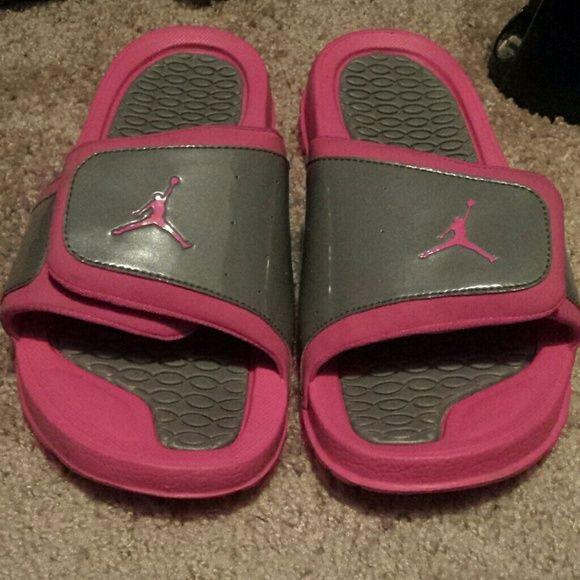 9d5ece727c83 Jordan slides Worn 2x. Gray   Pink. Very comfortable. Will fit a women s  size 8.5 9M. Jordan Shoes Sandals