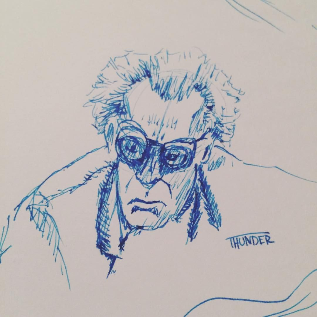 Inktober Day 21 Doc Brown for #backtothefuture day today. It been fun seeing all the stuff going on with that. #inktober #inktober2015 #inktoberday21 #sketch #ink #noodlers #navajoturquoise #docbrown #121jiggawatts #martymcfly
