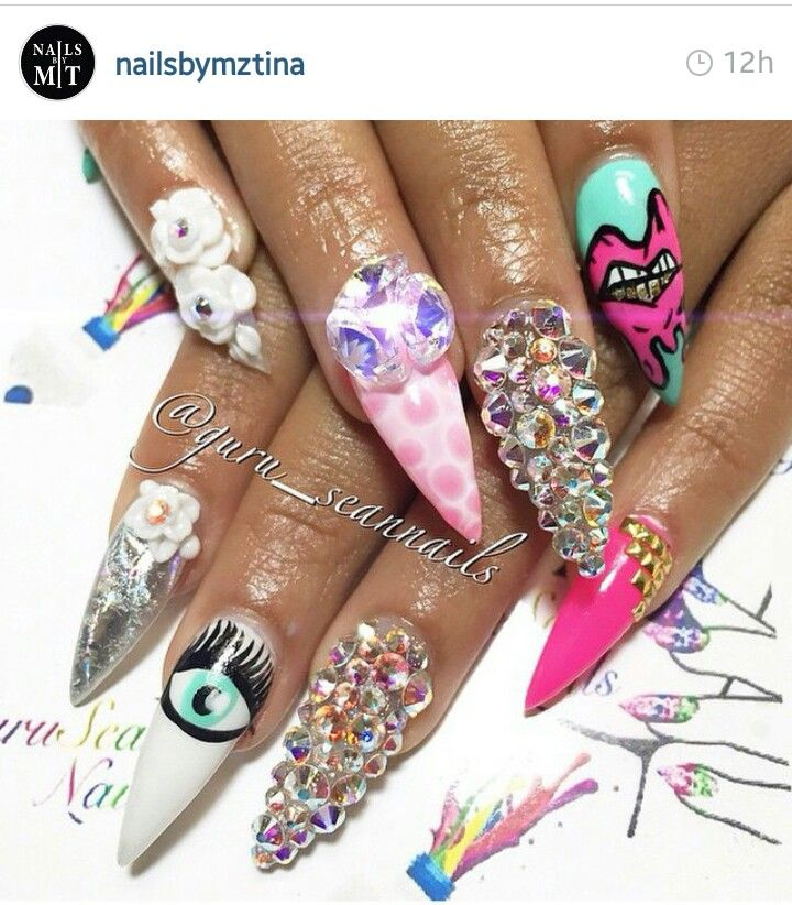 Crazy Nail Art: Crazy Stiletto Nail Art And Charms