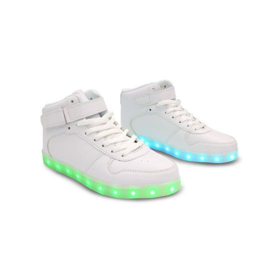 a24e6d21eb06ca Galaxy LED Shoes Light Up USB Charging High Top Strap   Lace Women s  Sneakers (Gold Glossy) - Walmart.com