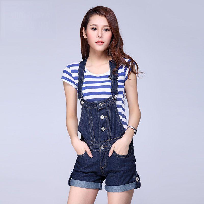 Nuevas mujeres cortos Denim Jeans Trabajo Granja Buzos Correa Pantalones Bib Pantalones / damas Peto