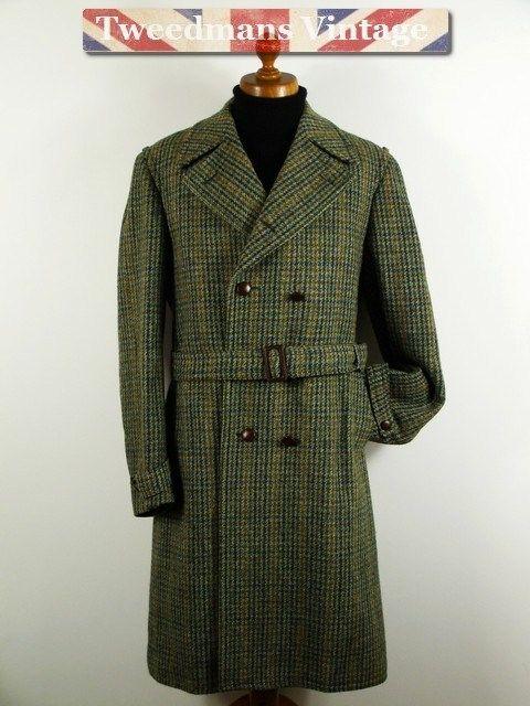 Double Breasted Harris Tweed Overcoat