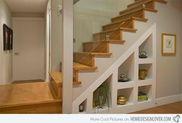 15 Ideas For Space Saving Under Staircase Shelves | Home Design Lover