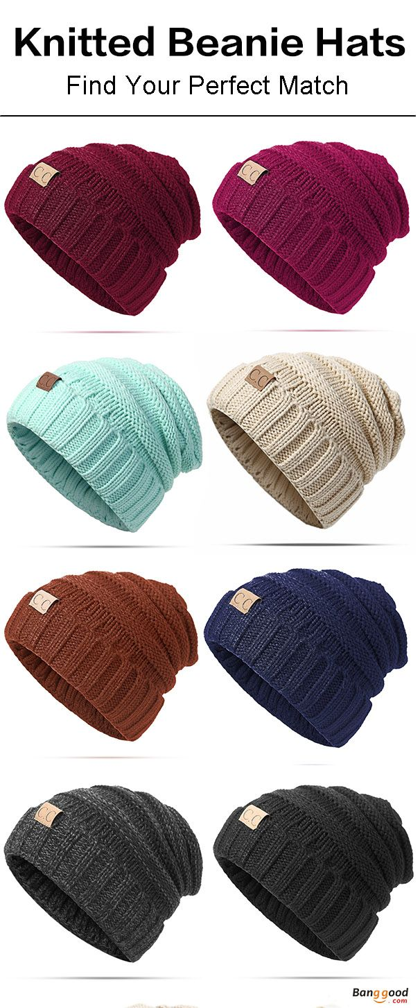 ac7f702e381ed Women Men Warm Soft Knitted Hat Autumn Winter Warm Outdoor Solid Skullies  Beanies Cap. Womens fashion
