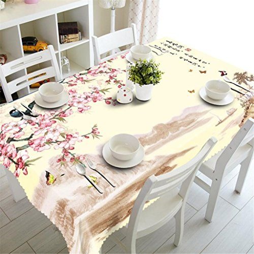 KKLL Tablecloth 3D Digital Printing Rectangular Dust Proof Environmental  Tasteless Table Cover Kitchen Decorative Dinner Table Top Cover , B