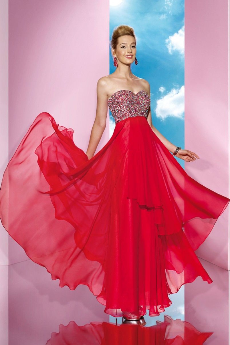 Unique+Sweetheart+Chiffon+Red+A+Line+Evening+Dress+Cac0060 | My ...
