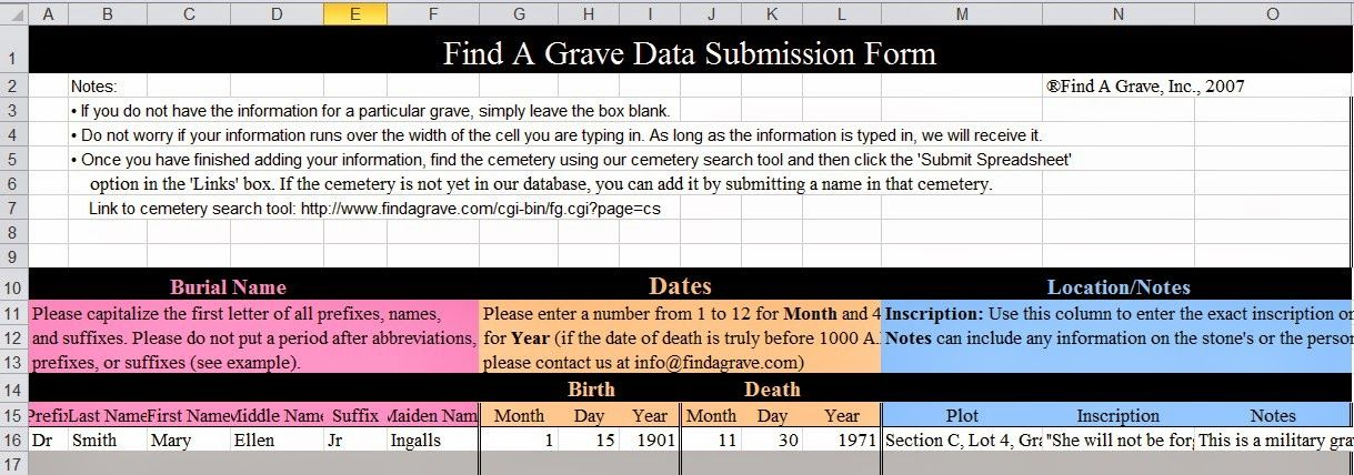 HAVE YOU USED FINDAGRAVE\u0027s Spreadsheet to Submit records? I just - spreadsheet