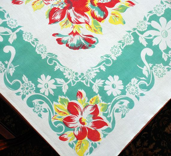 Vintage Tablecloths 1940 50 | Vintage Tropical Tablecloth   Red / Yellow /  Jadite Flowers