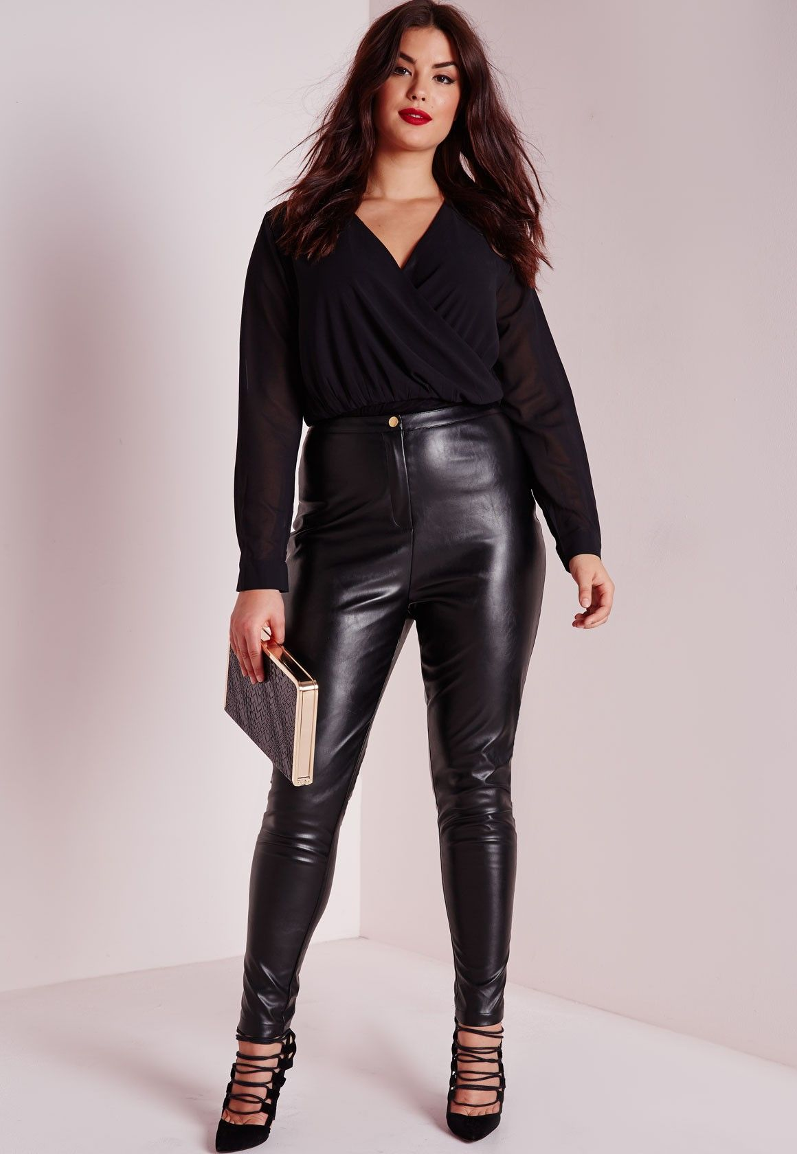 Missguided Plus Size Faux Leather Trousers Black Plus