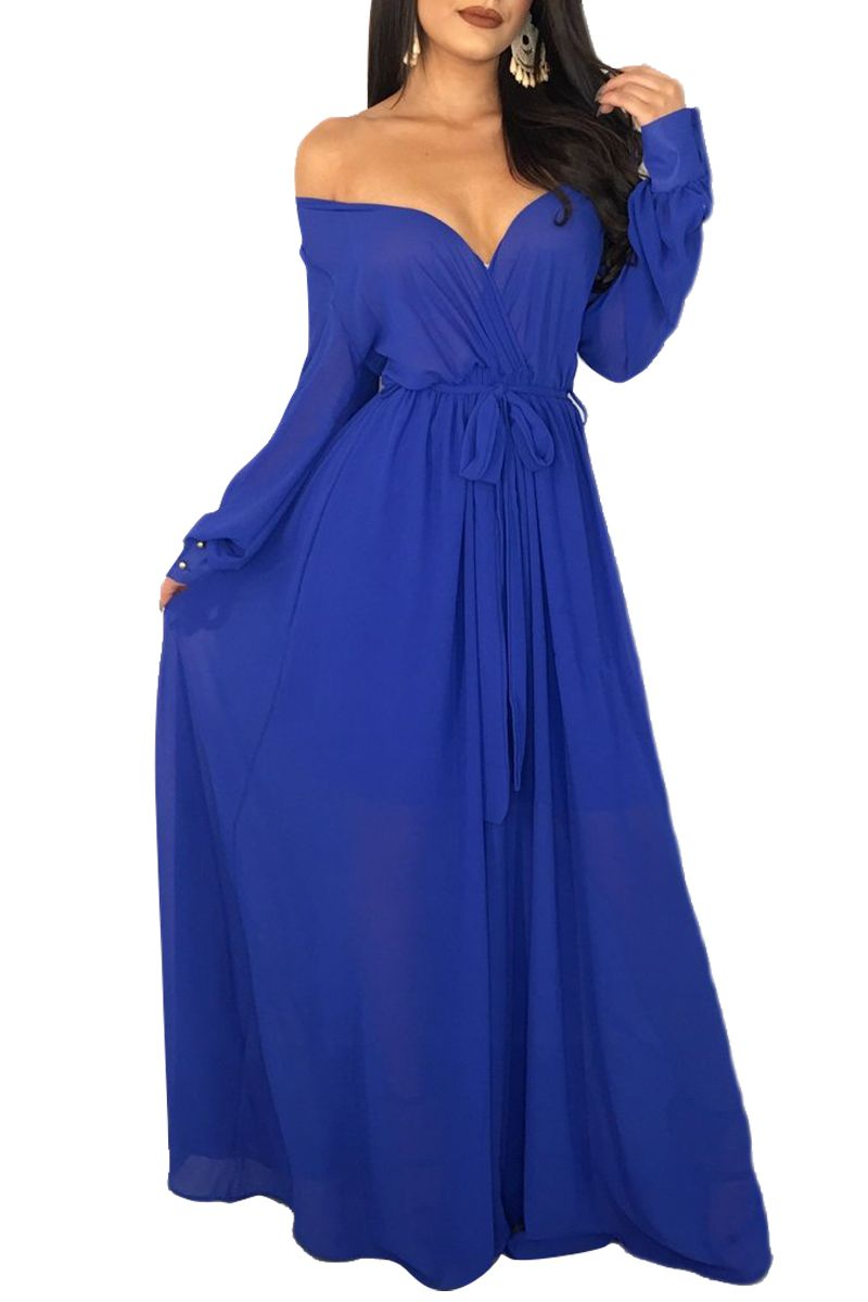 Royal blue off waist tie shoulder wrap maxi dress maxi