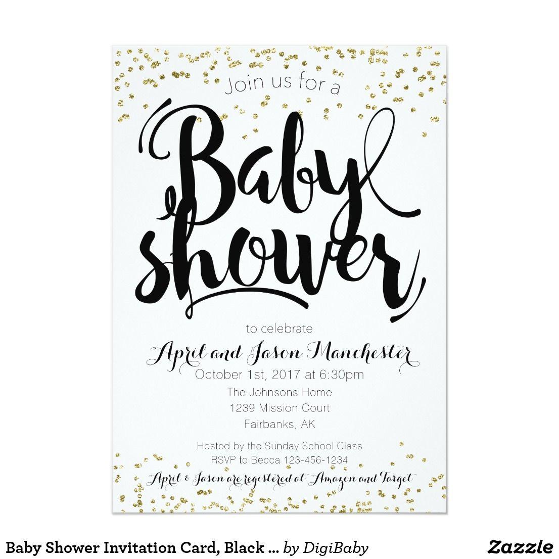 Baby Shower Invitation Card Black White Gold Zazzle Com Baby Shower Invitation Cards Baby Shower Invitations Shower Invitations