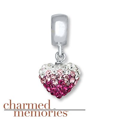 Charmed Memories Blue/White Crystal Heart Sterling Silver Charm cNPuGBuuVC