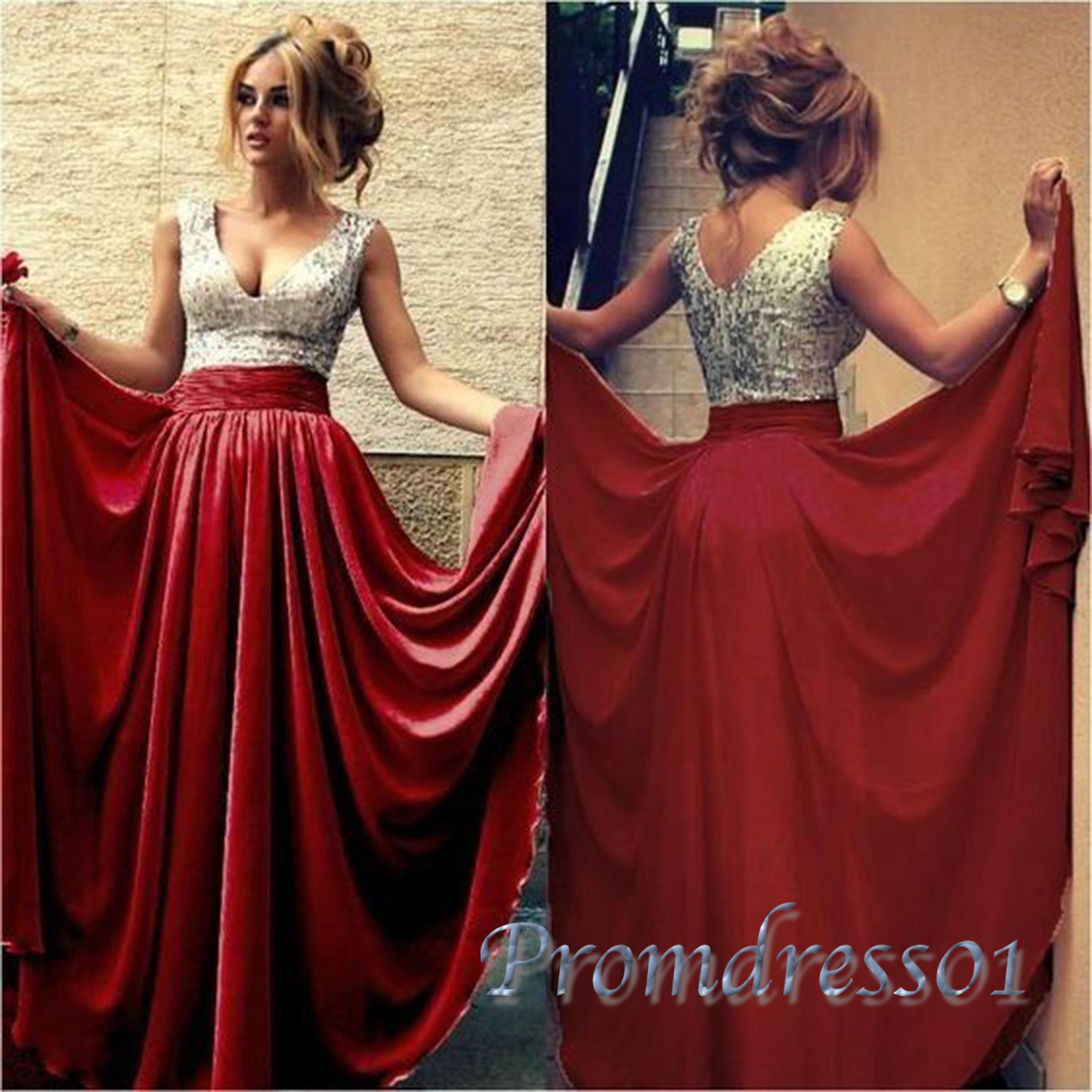 Elegant v-neck red satin long prom dress with sparkly sequins top ...