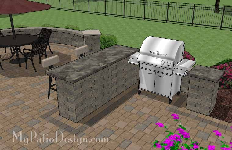 Large Paver Patio Design With Grill Station + Bar. | Plan No. 1155rr |