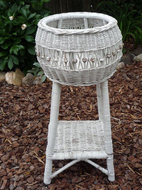 Vintage White Wicker Planter Fernery Unique By Trovemagpie
